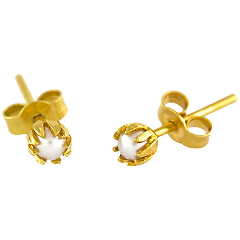 Alex Monroe 22ct Gold Plated Sterling Silver Baby Pearl Bud Stud Earrings, Gold