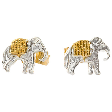 Alex Monroe 22ct Gold Plated Sterling Silver Elephant Stud Earrings, Silver,Gold