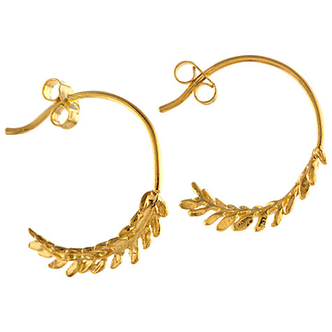 Alex Monroe Leaf Hoop Earrings, Gold