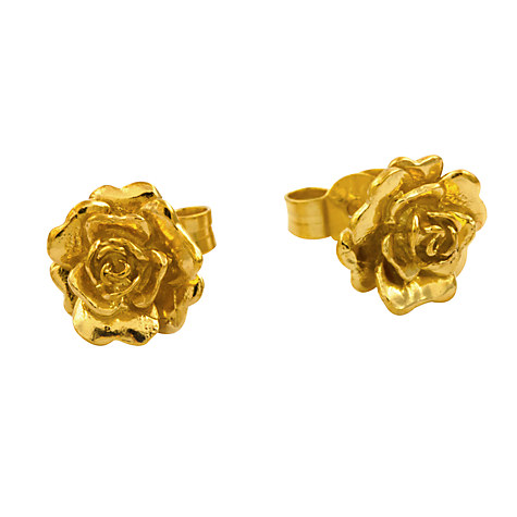 Alex Monroe Rosa Damascena Flower Stud Earrings, Gold