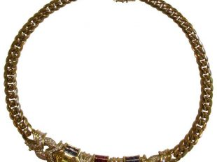 1970s Bulgari Sapphire Ruby Diamond Gold Necklace