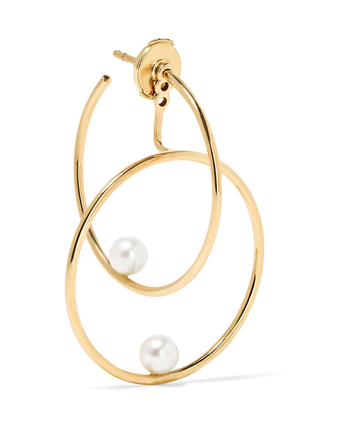 Yellow gold and pearl hoop earrings