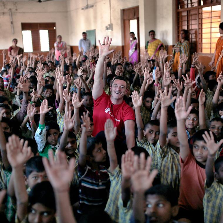 Luke Evans, who starred in The Hobbit and Girl on the Train, is a Bulgari ambassador. In November 2016 he visited India to help raise awareness of Save the Children's work in association with the Italian jeweller