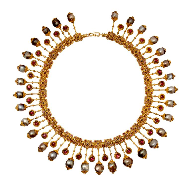 A fine example of a Castellani archaeological revival-style necklace, made in Rome circa 1880 and featuring baroque pearls and elaborate goldwork, is for sale at Veronique Bamps