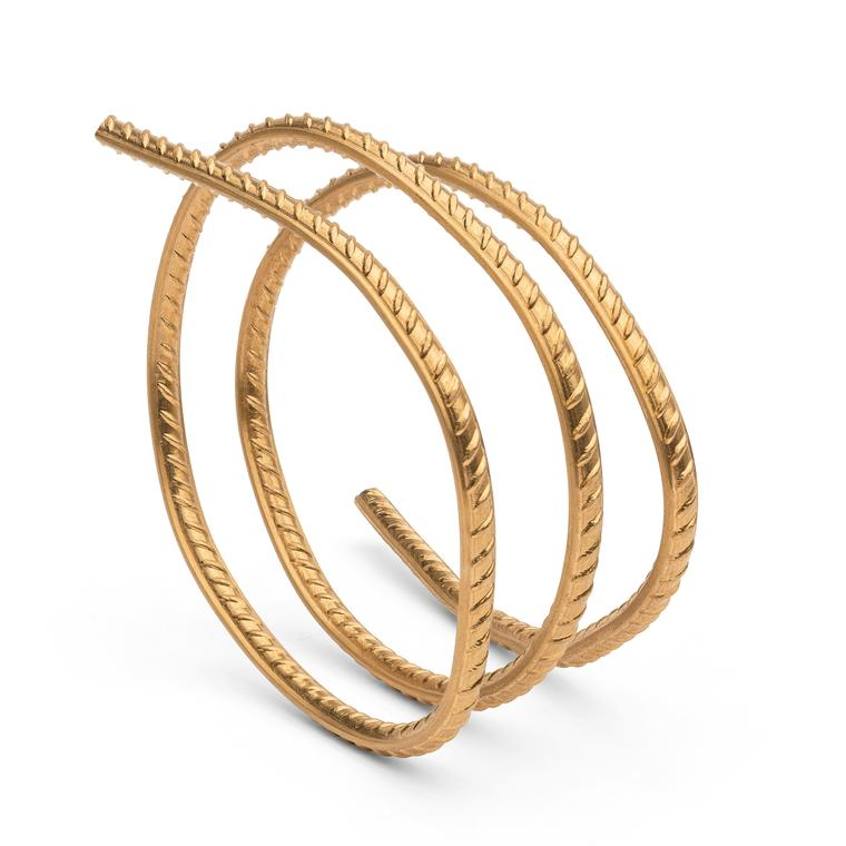 Elisabetta Cipriani's gallery brings to the show the smaller-scale work of Chinese artist Ai Weiwei in the form of the Rebar bracelet jewellery made from 24-carat gold