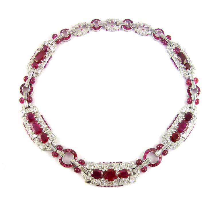 SJ Phillips will show at TEFAF 2017 a 1930s Burmese ruby and diamond cluster panel necklace by Cartier, New York