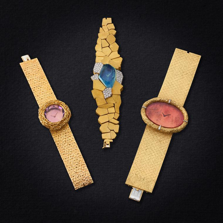 Somlo Antiques of London brings three gold watches designed by British jeweller Andrew Grima for Omega circa 1970.